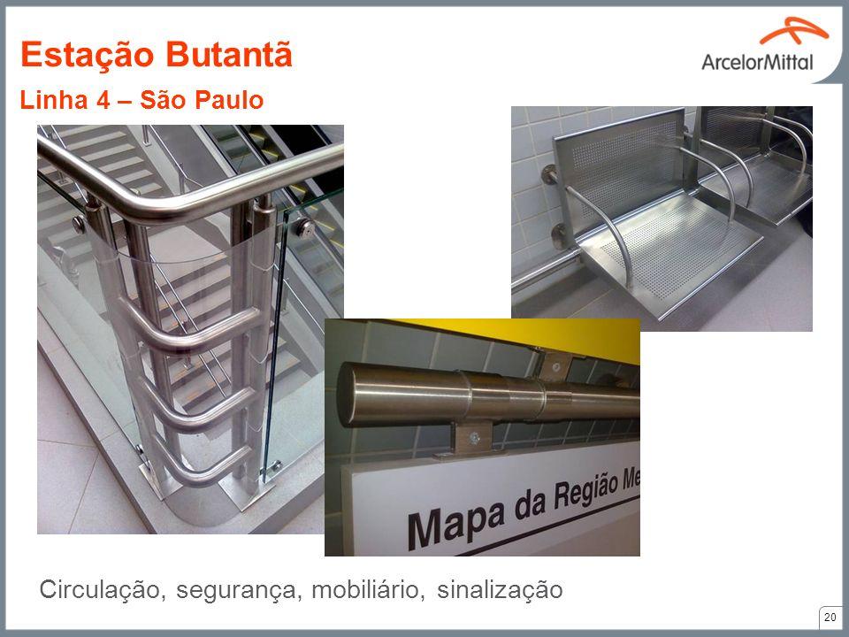 Circulação, segurança, mobiliário, sinalização 20 Estação Butantã Linha 4 – São Paulo