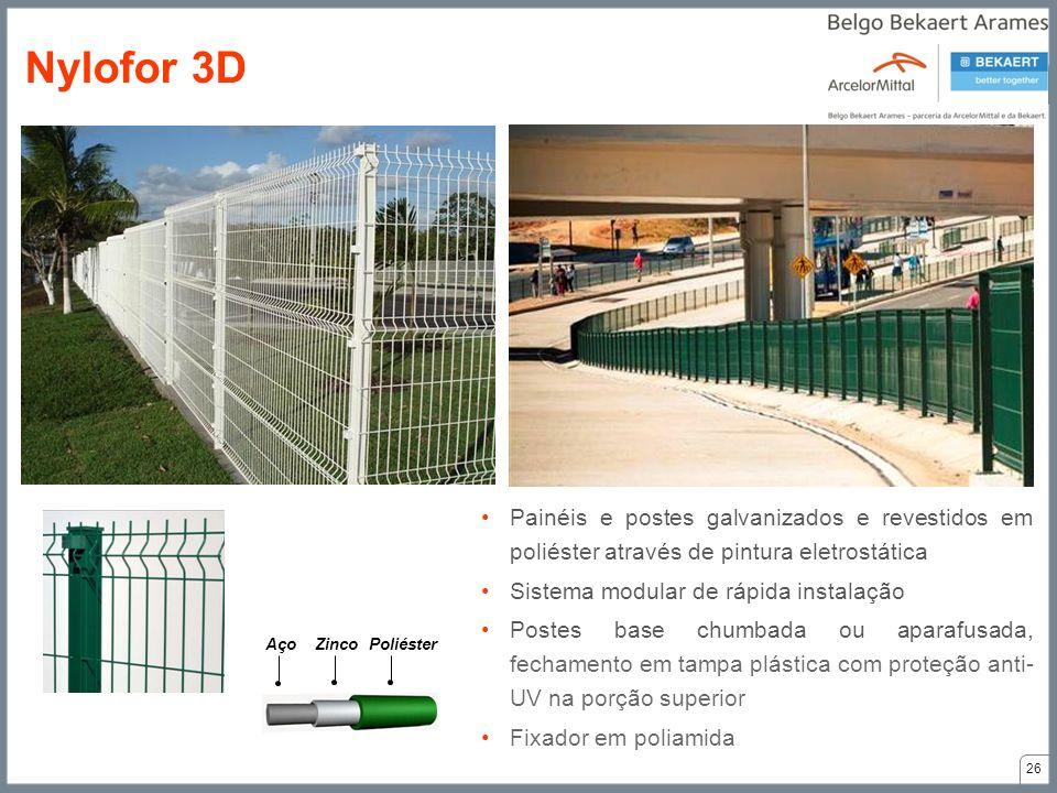 Painéis e postes galvanizados e revestidos em poliéster através de pintura eletrostática Sistema modular de rápida instalação Postes base chumbada ou