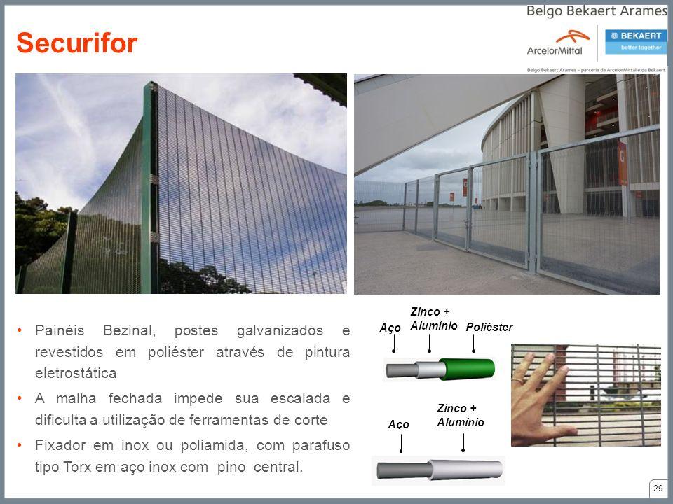 Aço Zinco + Alumínio Poliéster Aço Zinco + Alumínio Painéis Bezinal, postes galvanizados e revestidos em poliéster através de pintura eletrostática A