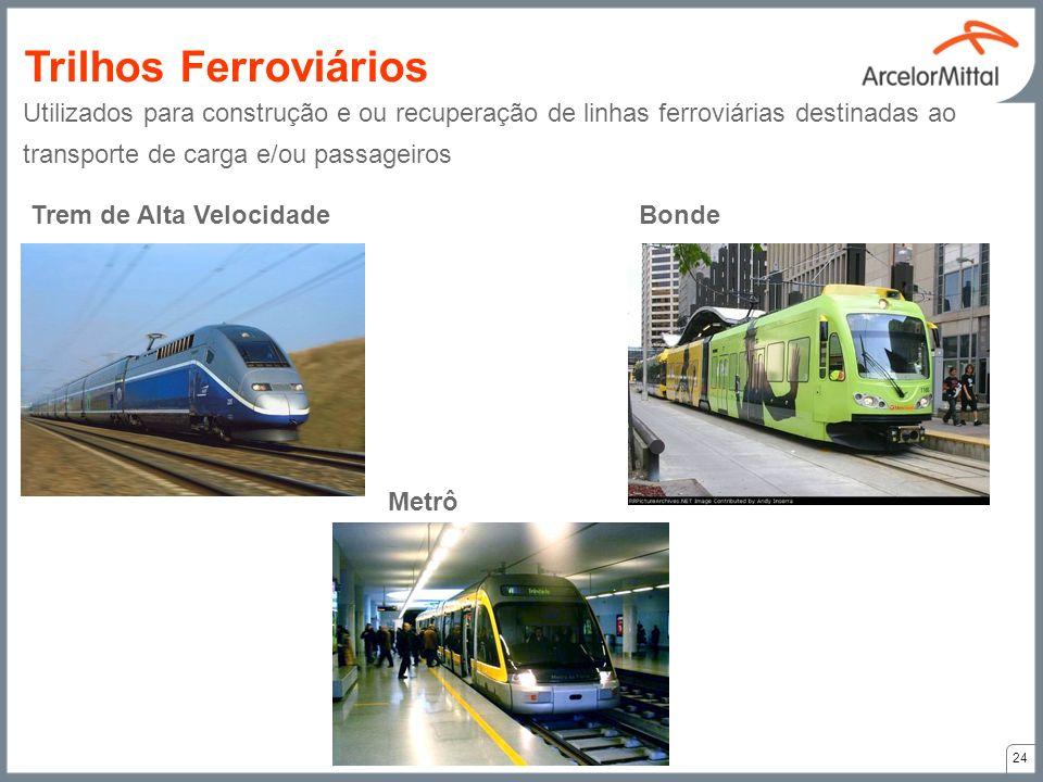 Trem de Alta VelocidadeBonde Metrô Utilizados para construção e ou recuperação de linhas ferroviárias destinadas ao transporte de carga e/ou passageir