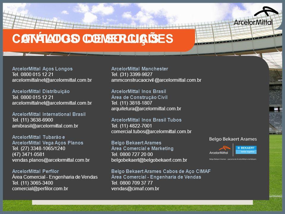 ArcelorMittal Aços Longos Tel. 0800 015 12 21 arcelormittalnet@arcelormittal.com.br ArcelorMittal Distribuição Tel. 0800 015 12 21 arcelormittalnet@ar