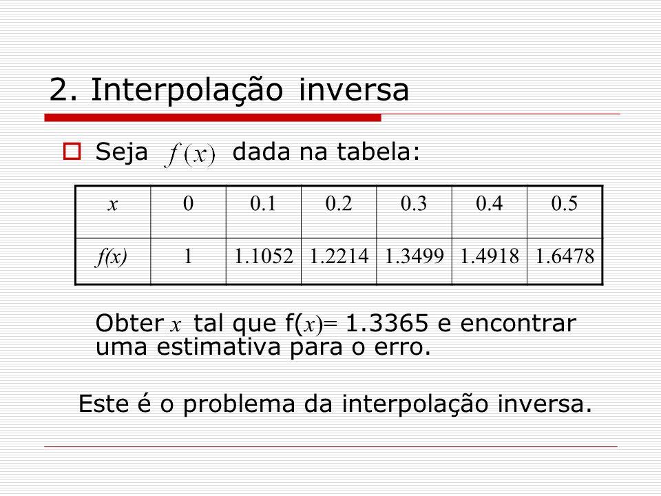 2. Interpolação inversa Seja dada na tabela: Obter x tal que f( x)= 1.3365 e encontrar uma estimativa para o erro. Este é o problema da interpolação i