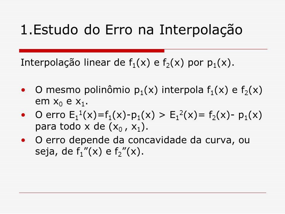 1.Estudo do Erro na Interpolação Interpolação linear de f 1 (x) e f 2 (x) por p 1 (x). O mesmo polinômio p 1 (x) interpola f 1 (x) e f 2 (x) em x 0 e
