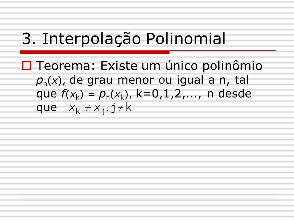 3. Interpolação Polinomial Teorema: Existe um único polinômio p n (x), de grau menor ou igual a n, tal que f (x k ) = p n (x k ), k=0,1,2,..., n desde