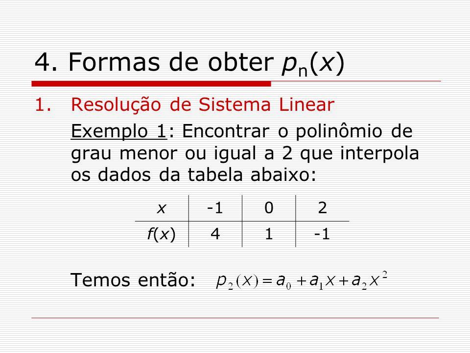 4. Formas de obter p n (x) 1.Resolução de Sistema Linear Exemplo 1: Encontrar o polinômio de grau menor ou igual a 2 que interpola os dados da tabela