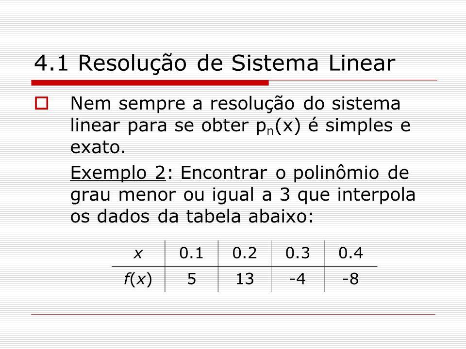 4.1 Resolução de Sistema Linear Nem sempre a resolução do sistema linear para se obter p n (x) é simples e exato. Exemplo 2: Encontrar o polinômio de