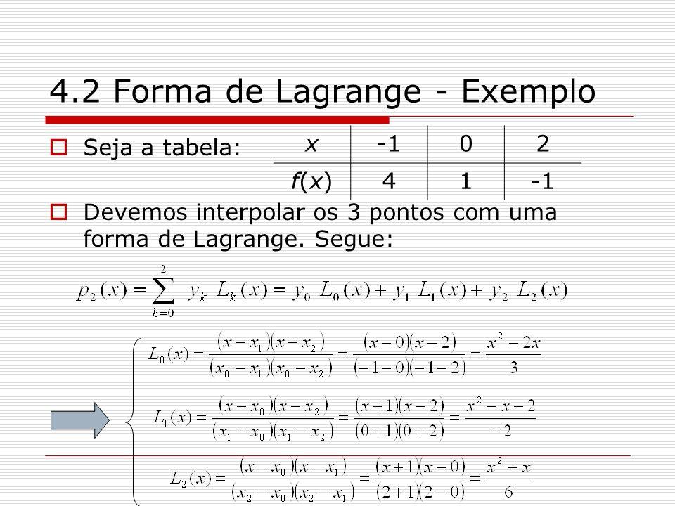4.2 Forma de Lagrange - Exemplo Seja a tabela: Devemos interpolar os 3 pontos com uma forma de Lagrange. Segue: x02 f(x)f(x)41