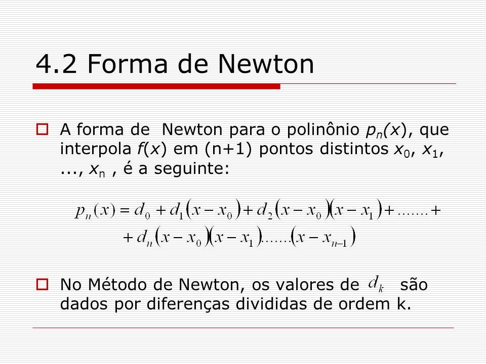 4.2 Forma de Newton A forma de Newton para o polinônio p n (x), que interpola f(x) em (n+1) pontos distintos x 0, x 1,..., x n, é a seguinte: No Métod