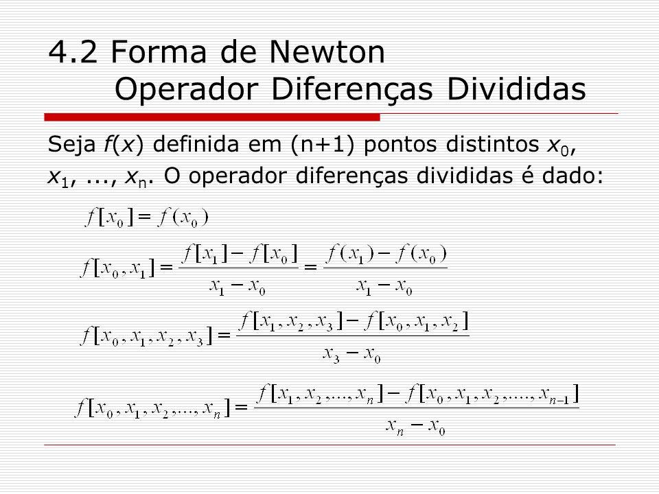 4.2 Forma de Newton Operador Diferenças Divididas Seja f(x) definida em (n+1) pontos distintos x 0, x 1,..., x n. O operador diferenças divididas é da