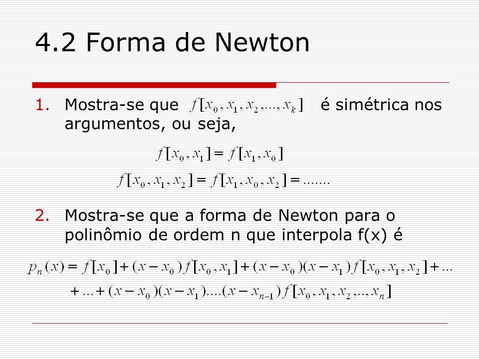 4.2 Forma de Newton 1.Mostra-se que é simétrica nos argumentos, ou seja, 2.Mostra-se que a forma de Newton para o polinômio de ordem n que interpola f