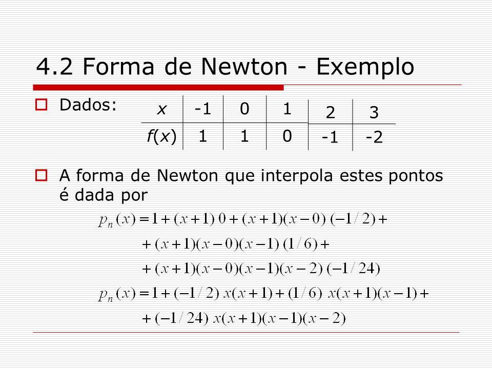 4.2 Forma de Newton - Exemplo Dados: A forma de Newton que interpola estes pontos é dada por x01 f(x)f(x)110 23 -2