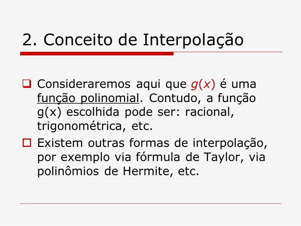 2. Conceito de Interpolação Consideraremos aqui que g(x) é uma função polinomial. Contudo, a função g(x) escolhida pode ser: racional, trigonométrica,