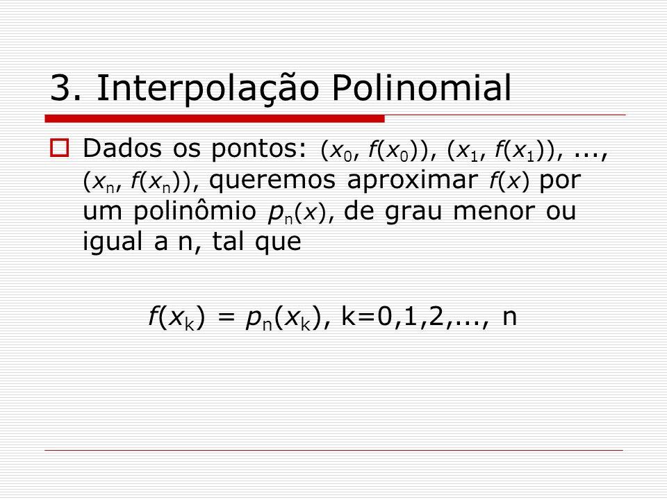 3. Interpolação Polinomial Dados os pontos: (x 0, f(x 0 )), (x 1, f(x 1 )),..., (x n, f(x n )), queremos aproximar f(x) por um polinômio p n (x), de g