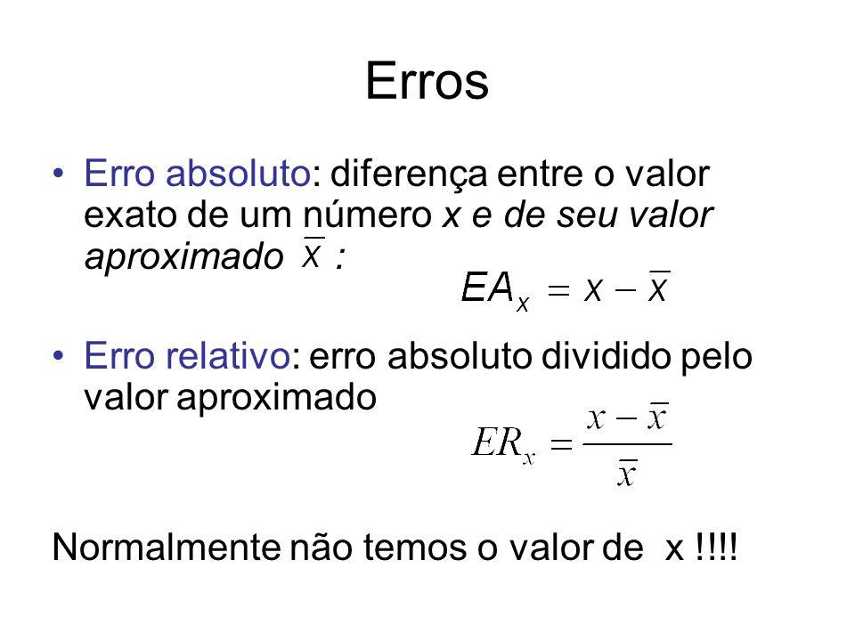 Erros Erro absoluto: diferença entre o valor exato de um número x e de seu valor aproximado : Erro relativo: erro absoluto dividido pelo valor aproxim