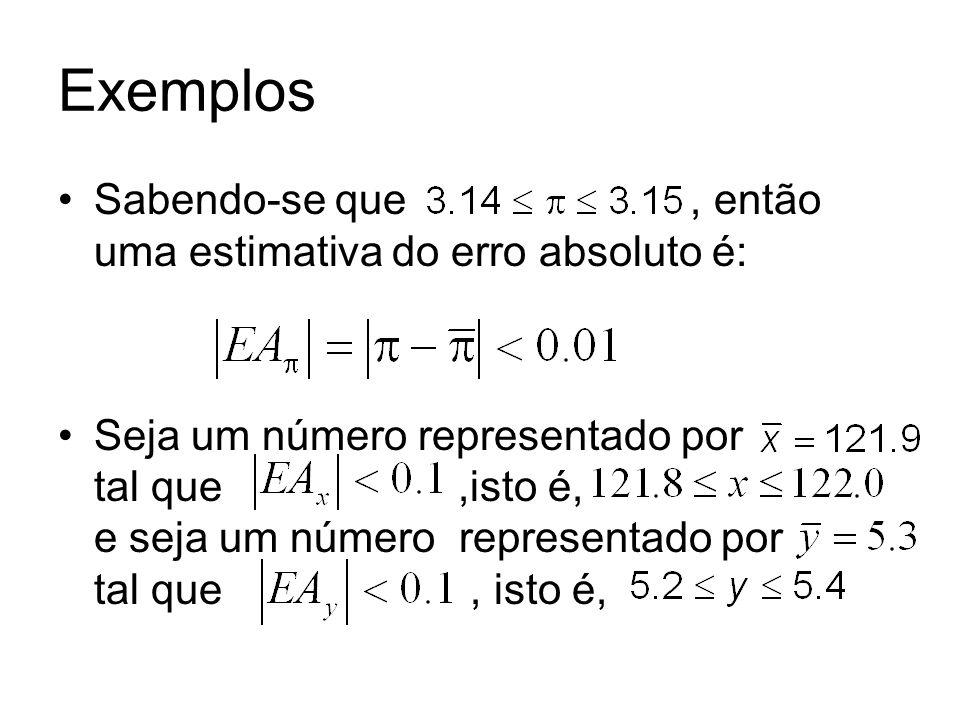 Exemplos Sabendo-se que, então uma estimativa do erro absoluto é: Seja um número representado por tal que,isto é, e seja um número representado por ta