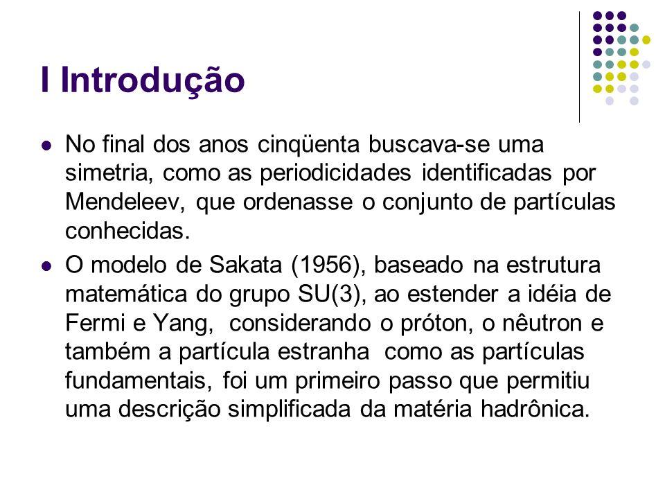 I Introdução No final dos anos cinqüenta buscava-se uma simetria, como as periodicidades identificadas por Mendeleev, que ordenasse o conjunto de part