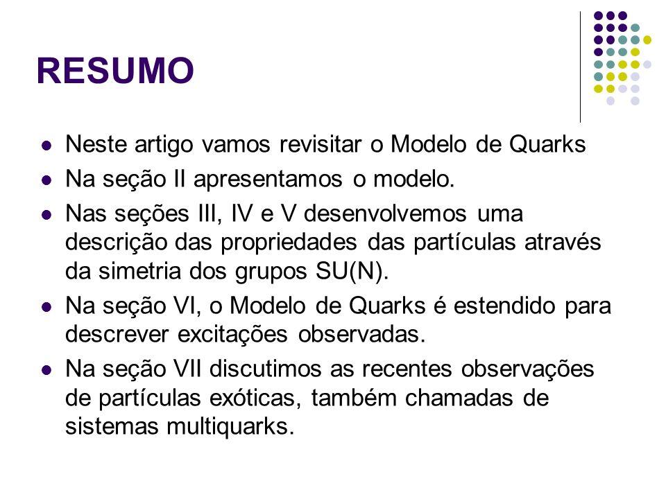 I Introdução A partir dos anos 70, como previsto pelo Modelo de Quarks, começaram a ser observados estados hadrônicos excitados em momento angular, excitação radial e outras excitações, semelhantes às excitações anteriormente observadas nos núcleos atômicos, das partículas que preenchiam as configurações mais baixas previstas pelo Modelo de Quarks, o que elevou dramaticamente o número de hádrons observados.