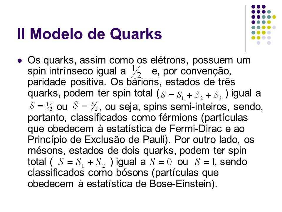 II Modelo de Quarks Os quarks, assim como os elétrons, possuem um spin intrínseco igual a e, por convenção, paridade positiva. Os bárions, estados de