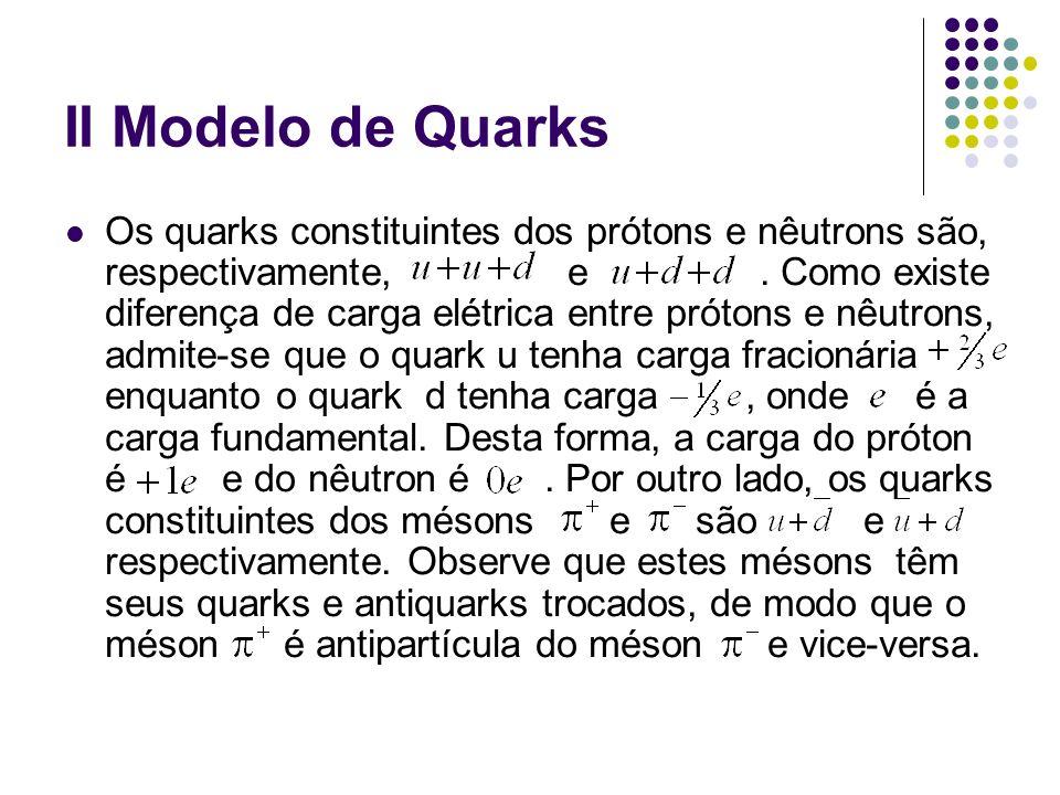 II Modelo de Quarks Os quarks constituintes dos prótons e nêutrons são, respectivamente, e. Como existe diferença de carga elétrica entre prótons e nê