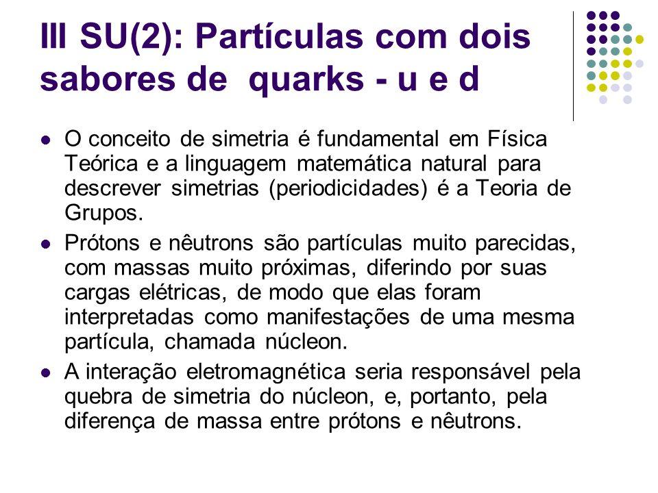III SU(2): Partículas com dois sabores de quarks - u e d O conceito de simetria é fundamental em Física Teórica e a linguagem matemática natural para