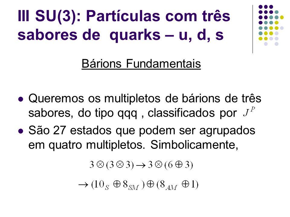 III SU(3): Partículas com três sabores de quarks – u, d, s Bárions Fundamentais Queremos os multipletos de bárions de três sabores, do tipo qqq, class