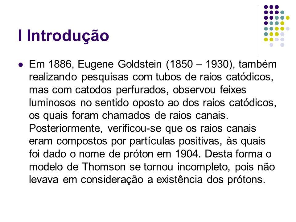 I Introdução Em 1886, Eugene Goldstein (1850 – 1930), também realizando pesquisas com tubos de raios catódicos, mas com catodos perfurados, observou f