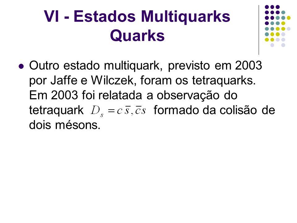 VI - Estados Multiquarks Quarks Outro estado multiquark, previsto em 2003 por Jaffe e Wilczek, foram os tetraquarks. Em 2003 foi relatada a observação
