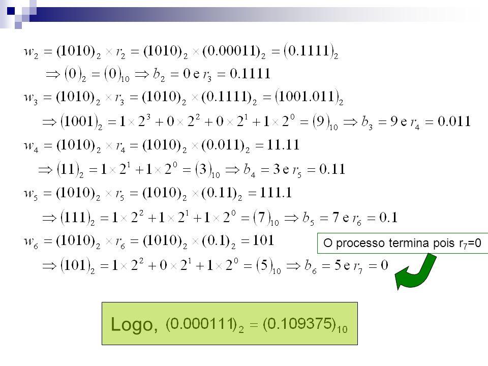 O processo termina pois r 7 =0 Logo,