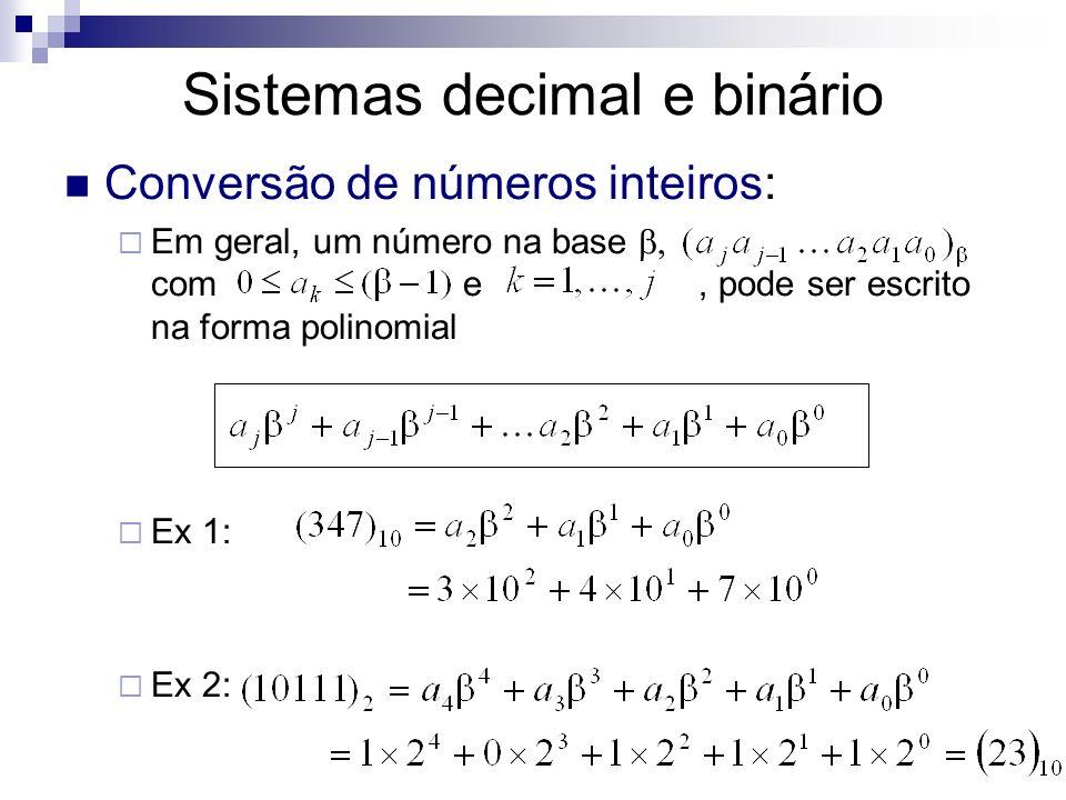 Sistemas decimal e binário Conversão de números inteiros: Em geral, um número na base com e, pode ser escrito na forma polinomial Ex 1: Ex 2: