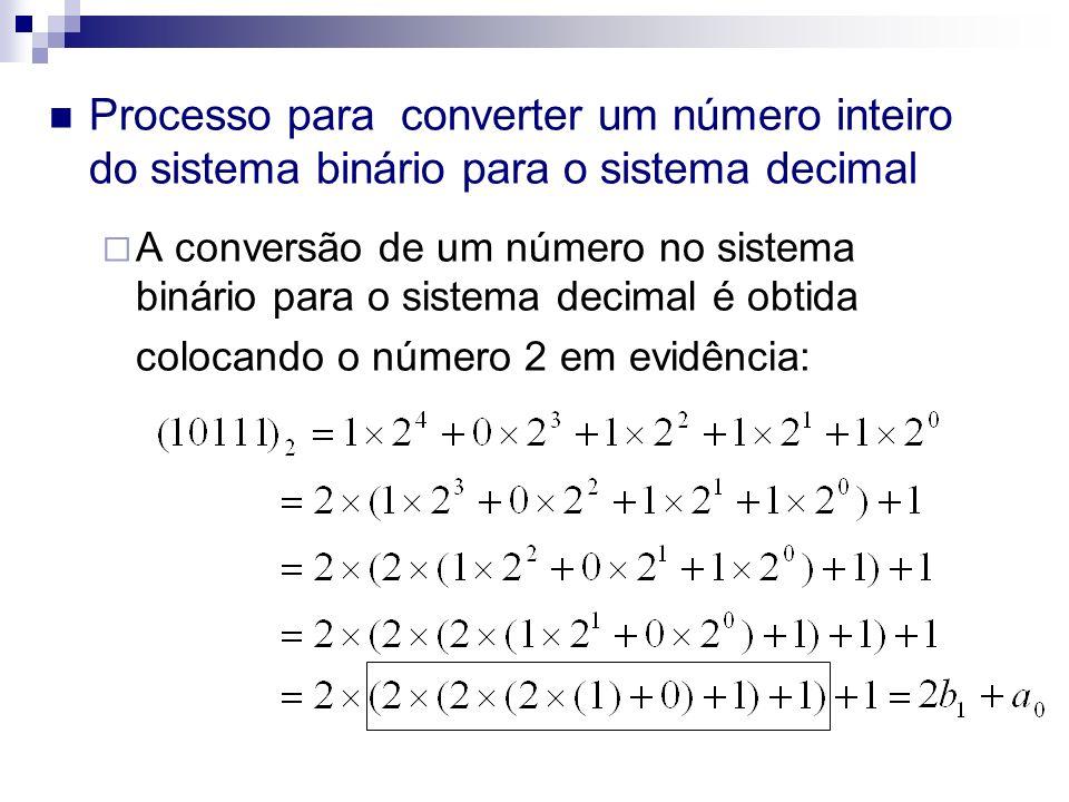 Processo para converter um número inteiro do sistema binário para o sistema decimal A conversão de um número no sistema binário para o sistema decimal é obtida colocando o número 2 em evidência: