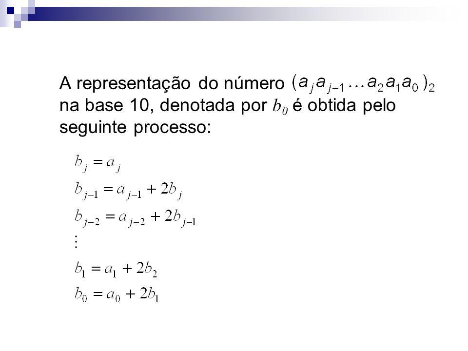A representação do número na base 10, denotada por b 0 é obtida pelo seguinte processo: