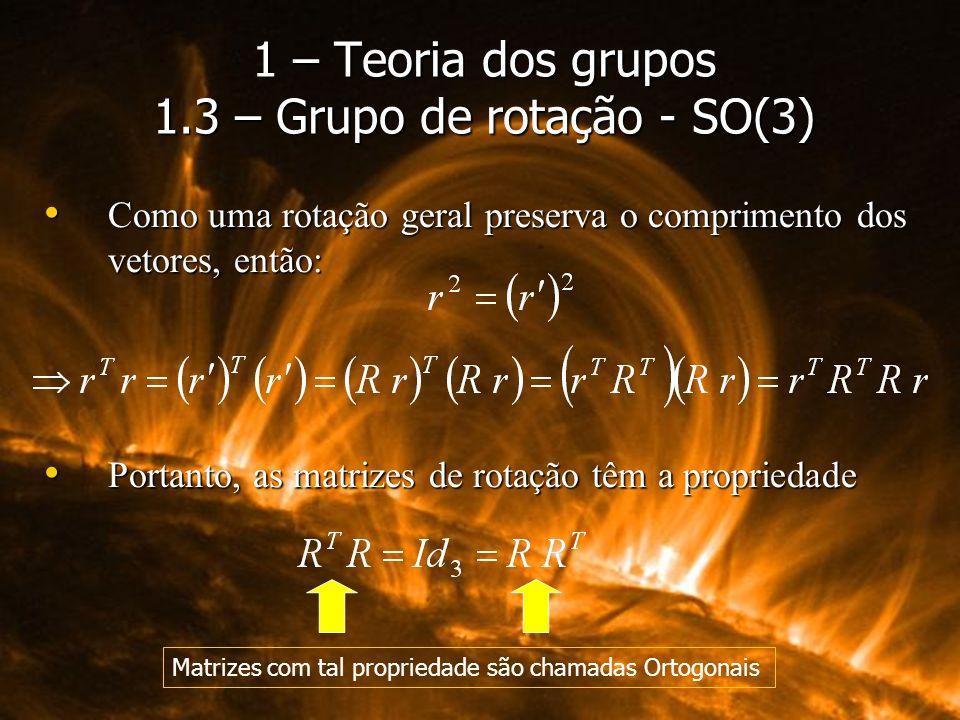 Como uma rotação geral preserva o comprimento dos vetores, então: Como uma rotação geral preserva o comprimento dos vetores, então: Portanto, as matri