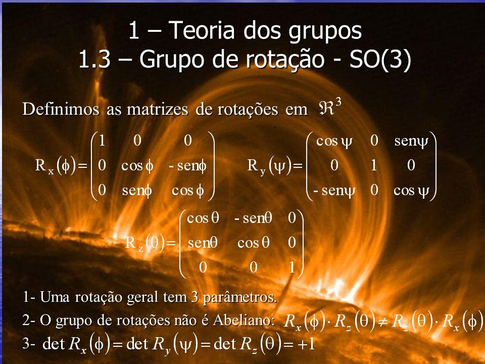 Definimos as matrizes de rotações em 1- Uma rotação geral tem 3 parâmetros. 2- O grupo de rotações não é Abeliano: 3- 1 – Teoria dos grupos 1.3 – Grup