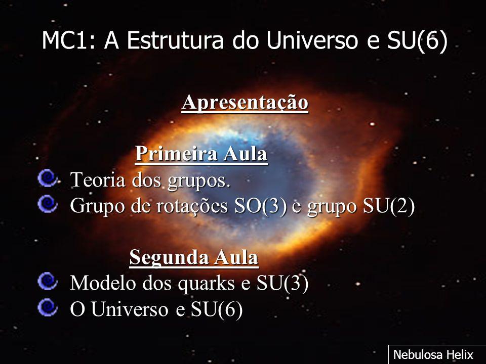 MC1: A Estrutura do Universo e SU(6) Apresentação Primeira Aula Primeira Aula Teoria dos grupos. Grupo de rotações SO(3) e grupo SU(2) Segunda Aula Se