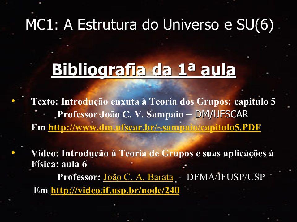 MC1: A Estrutura do Universo e SU(6) Bibliografia da 1ª aula Texto: Introdução enxuta à Teoria dos Grupos: capítulo 5 – DM/UFSCAR Professor João C. V.