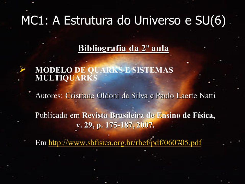 MC1: A Estrutura do Universo e SU(6) Bibliografia da 2ª aula MODELO DE QUARKS E SISTEMAS MULTIQUARKS Cristiane Oldoni da Silva e Paulo Laerte Natti Au