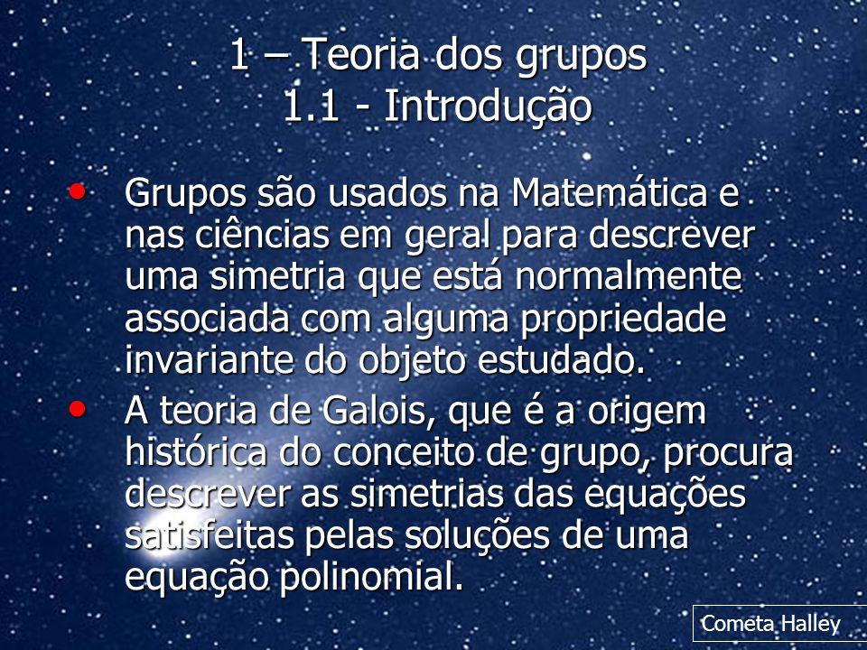 1 – Teoria dos grupos 1.1 - Introdução Grupos são usados na Matemática e nas ciências em geral para descrever uma simetria que está normalmente associ