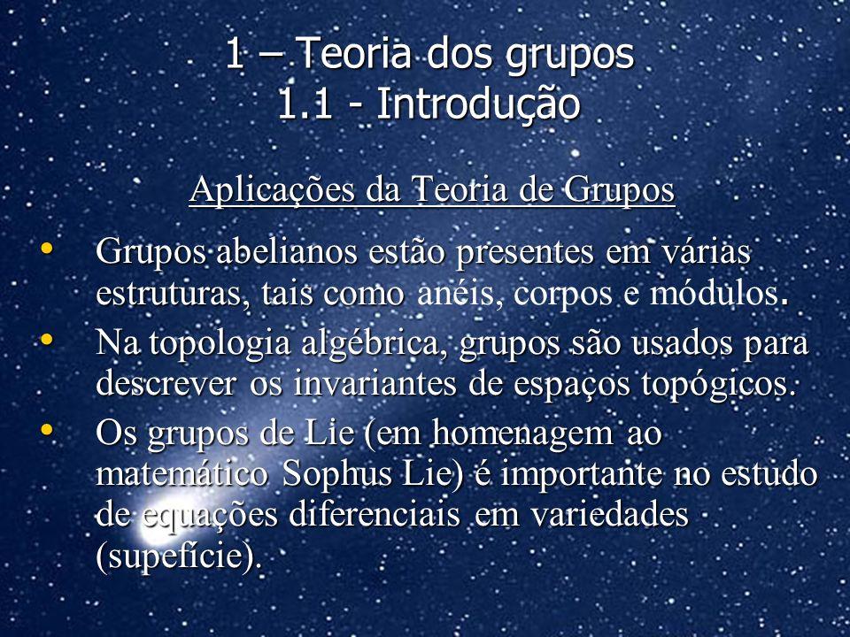 Aplicações da Teoria de Grupos Grupos abelianos estão presentes em várias estruturas, tais como. Grupos abelianos estão presentes em várias estruturas