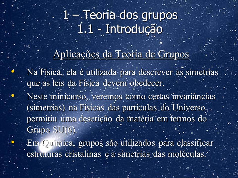 Aplicações da Teoria de Grupos Na Física, ela é utilizada para descrever as simetrias que as leis da Física devem obedecer. Na Física, ela é utilizada