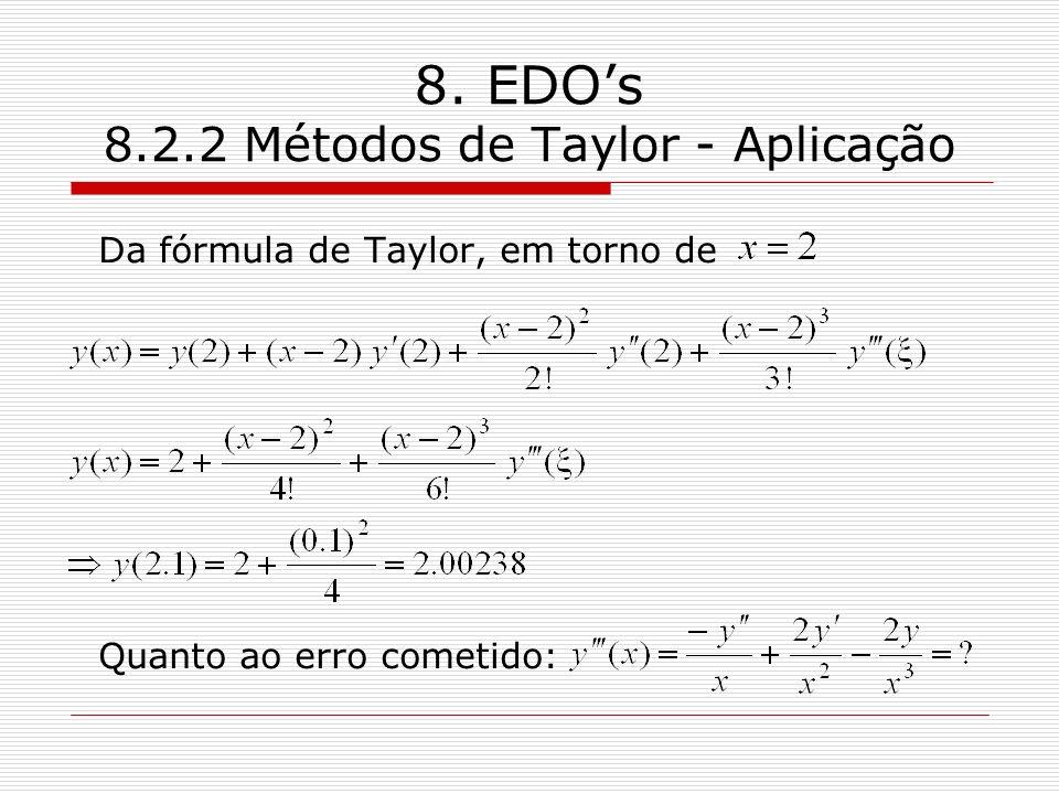 8. EDOs 8.2.2 Métodos de Taylor - Aplicação Da fórmula de Taylor, em torno de Quanto ao erro cometido: