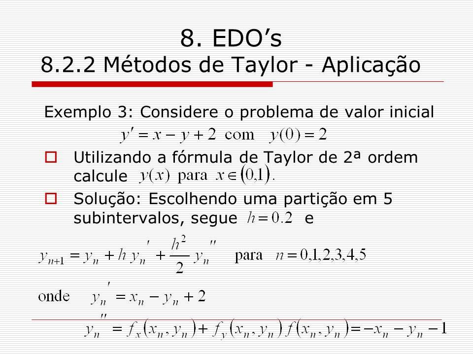 8. EDOs 8.2.2 Métodos de Taylor - Aplicação Exemplo 3: Considere o problema de valor inicial Utilizando a fórmula de Taylor de 2ª ordem calcule Soluçã