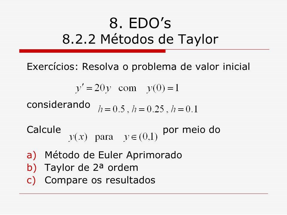 8. EDOs 8.2.2 Métodos de Taylor Exercícios: Resolva o problema de valor inicial considerando Calcule por meio do a)Método de Euler Aprimorado b)Taylor