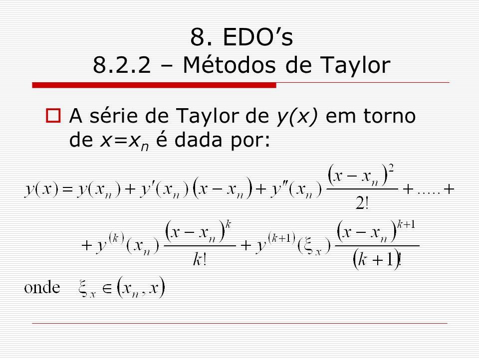 8. EDOs 8.2.2 – Métodos de Taylor A série de Taylor de y(x) em torno de x=x n é dada por: