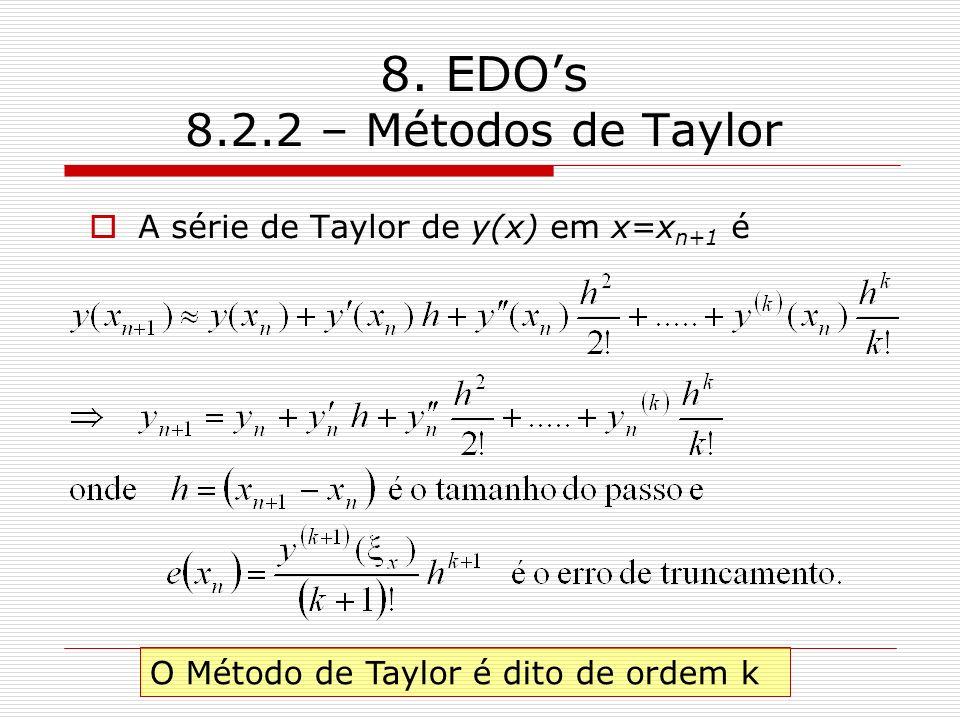 8. EDOs 8.2.2 – Métodos de Taylor A série de Taylor de y(x) em x=x n+1 é O Método de Taylor é dito de ordem k