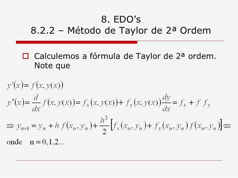 8. EDOs 8.2.2 – Método de Taylor de 2ª Ordem Calculemos a fórmula de Taylor de 2ª ordem. Note que
