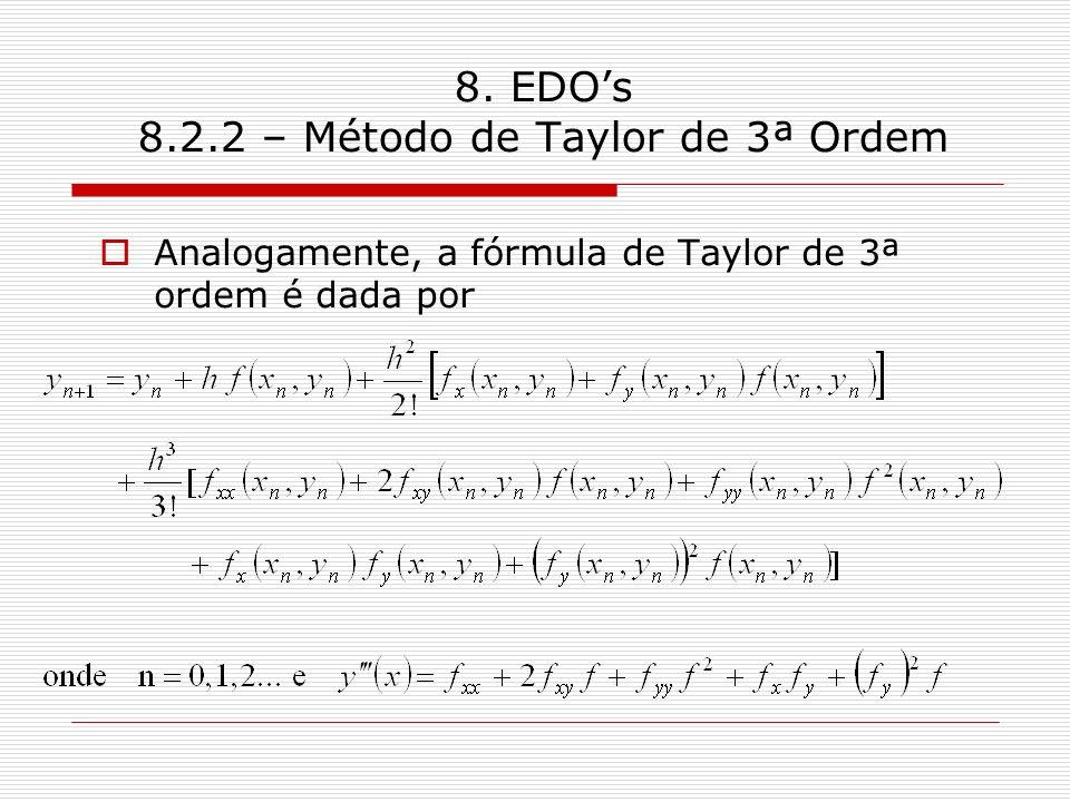 8. EDOs 8.2.2 – Método de Taylor de 3ª Ordem Analogamente, a fórmula de Taylor de 3ª ordem é dada por