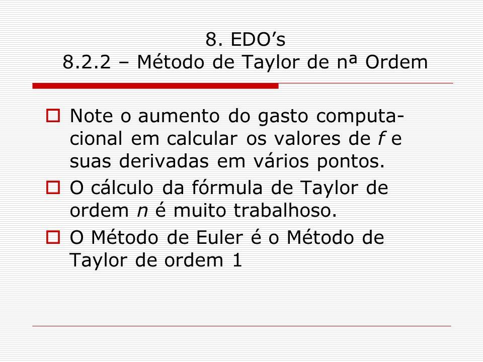 8. EDOs 8.2.2 – Método de Taylor de nª Ordem Note o aumento do gasto computa- cional em calcular os valores de f e suas derivadas em vários pontos. O