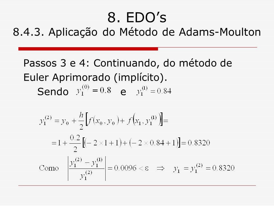 8. EDOs 8.4.3. Aplicação do Método de Adams-Moulton Passos 3 e 4: Continuando, do método de Euler Aprimorado (implícito). Sendo e