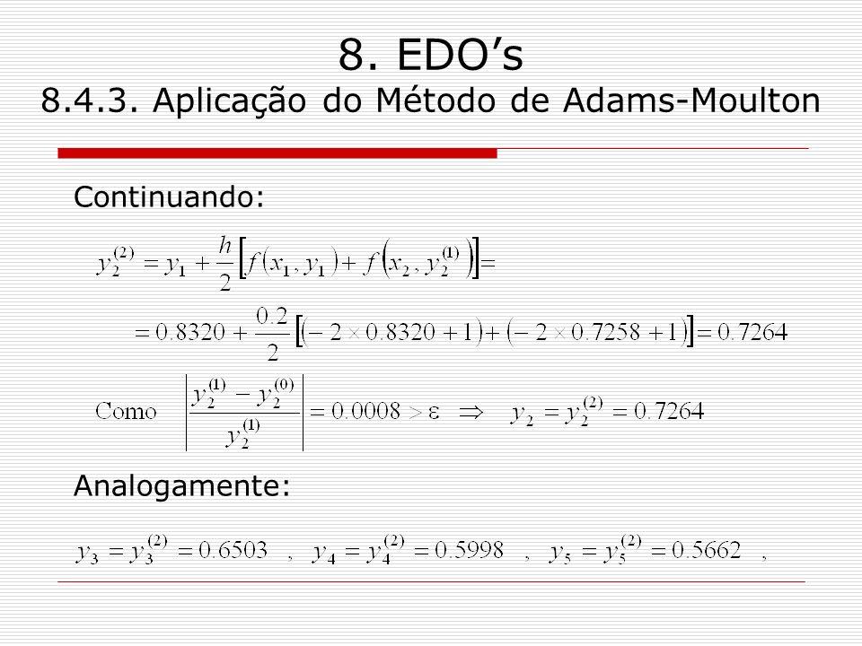8. EDOs 8.4.3. Aplicação do Método de Adams-Moulton Continuando: Analogamente: