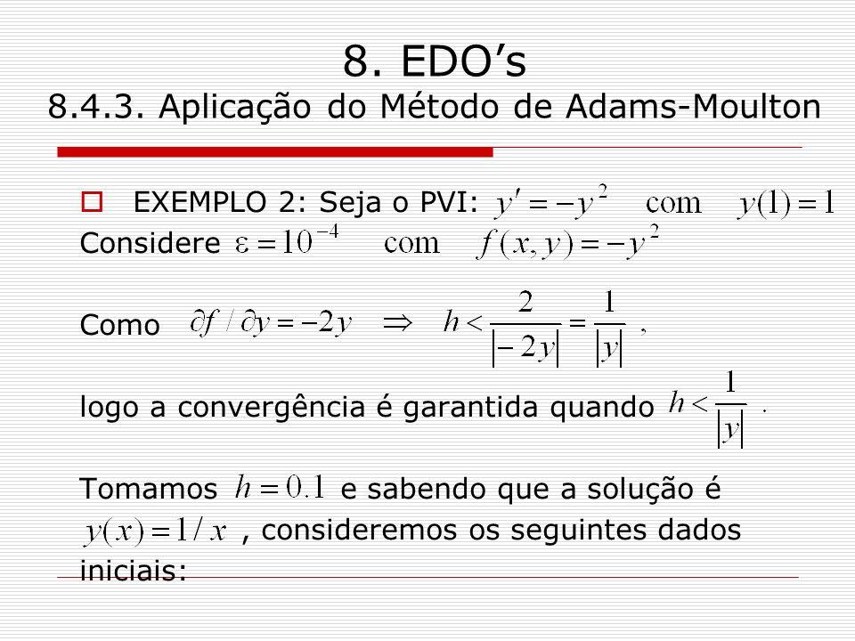 8. EDOs 8.4.3. Aplicação do Método de Adams-Moulton EXEMPLO 2: Seja o PVI: Considere Como logo a convergência é garantida quando Tomamos e sabendo que